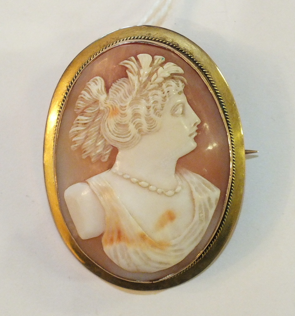 Lot 218 - A shell cameo brooch in 9ct gold mount, 5 x 3.7cm, 16.4g.