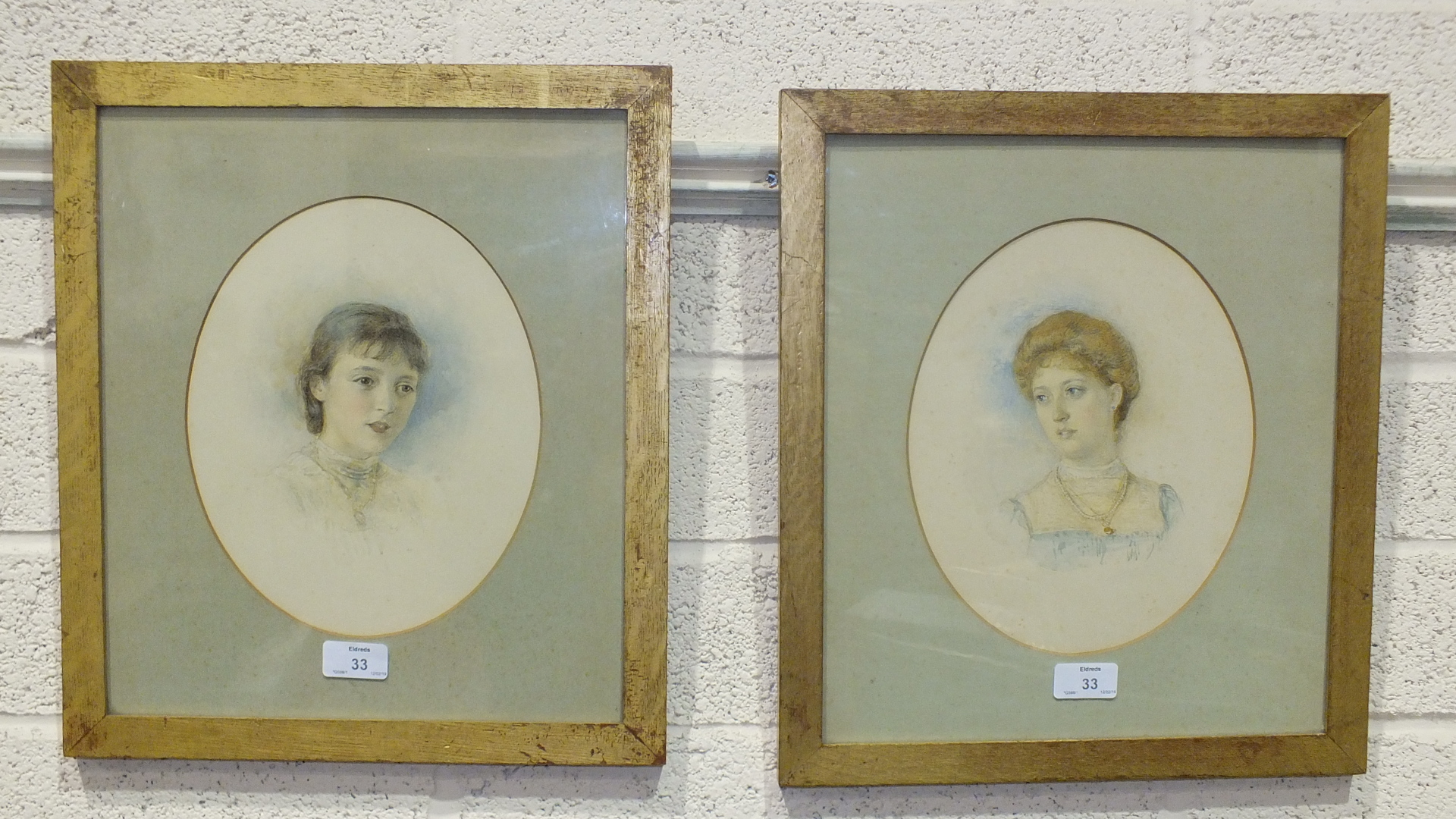 Lot 33 - Henry John Stock (1853-1930), 'Study of a young woman wearing a locket', a watercolour, signed