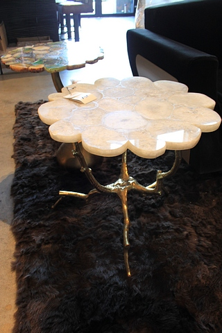 Lot 32 - Side Table Fused side table with polished white Agate crystal top, a solid antique monopodial tripod