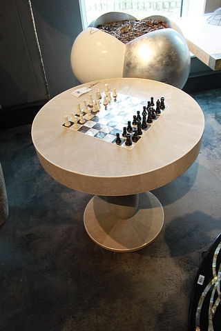 Lot 156 - Chess Table Kasparov a glamorous chess table with handy storage drawer, covered in antique