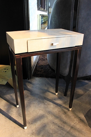Lot 36 - Side Table Niec single drawer side table handmade in antique stingray, antique and ebony black