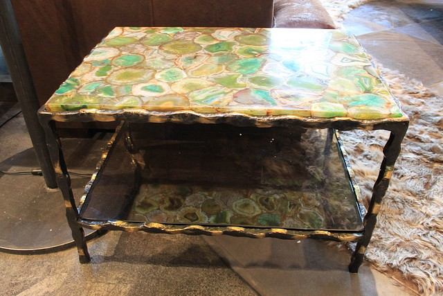 Lot 118 - Side table artisan made semi precious block green agate top mounted on a pinched shiny antiqued