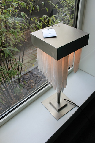 Lot 126 - Table Lamp Selenite stone chandelier style lamp exudes luxury for any refined interior design,