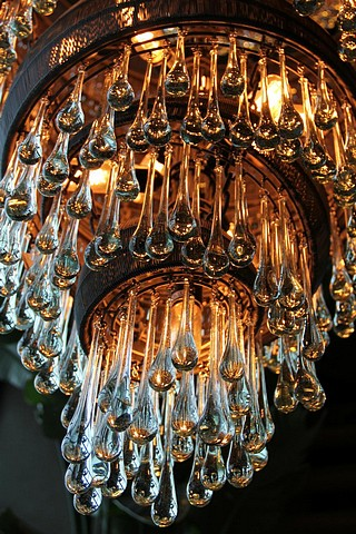 Lot 44 - Hanging Lamp Tumble l  an opulent meticulously crafted and richly hued 50 light chandelier style