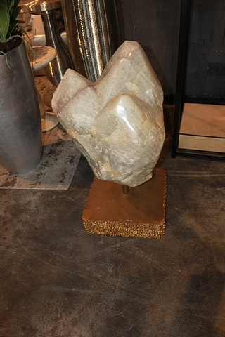 Lot 238 - Decorative Centre Piece precious rock crystal on aluminium plating plinth, a unique and eye catching
