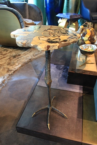 Lot 104 - Side Table Break a leg side table with sand top sepataria stone top, a solid antique monopodial