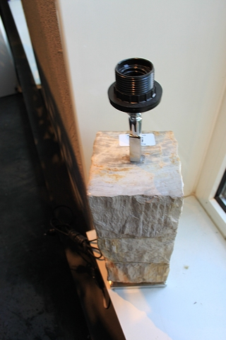 Lot 56 - Table Lamp Flores Natural Foot in Rustic Block Natural Petrified Wood On Stainless Steel Base
