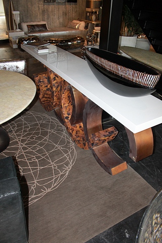 Lot 164 - Console C large hall table hand-shaped pen shells in natural shades of brown create a mosaic with