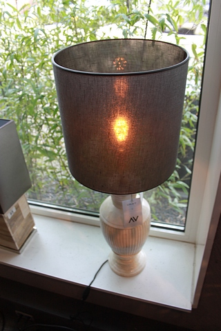 Lot 86 - Table Lamp Gloom Bone Carved with shade 48x18cm Cravt SKU 320395