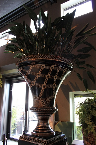 Vase Chalice Black a substantial exquisitely hand-crafted, black lacquer finished vase accented