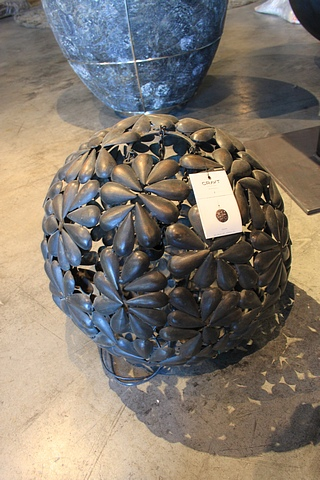 Lot 40 - Hanging Lamp Globe Leaves textural sculpture piece is structured in flawless high-quality nickel