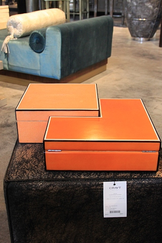 Lot 69 - Box Sixties an elegant handmade box from cow horn and ebony covered with a luxurious orange stingray