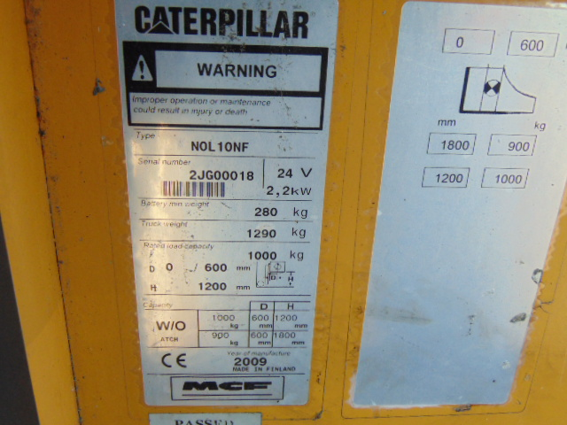 Lot 8 - 2009 CAT NOL10NF Low Level Electric Order Picker