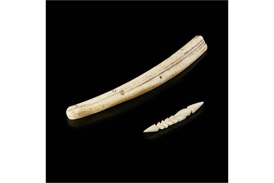 Inuit Harpoon Head And Cribbage Board Carved Whale Rib And Bone A Barbed Harpoon Head And Unfin