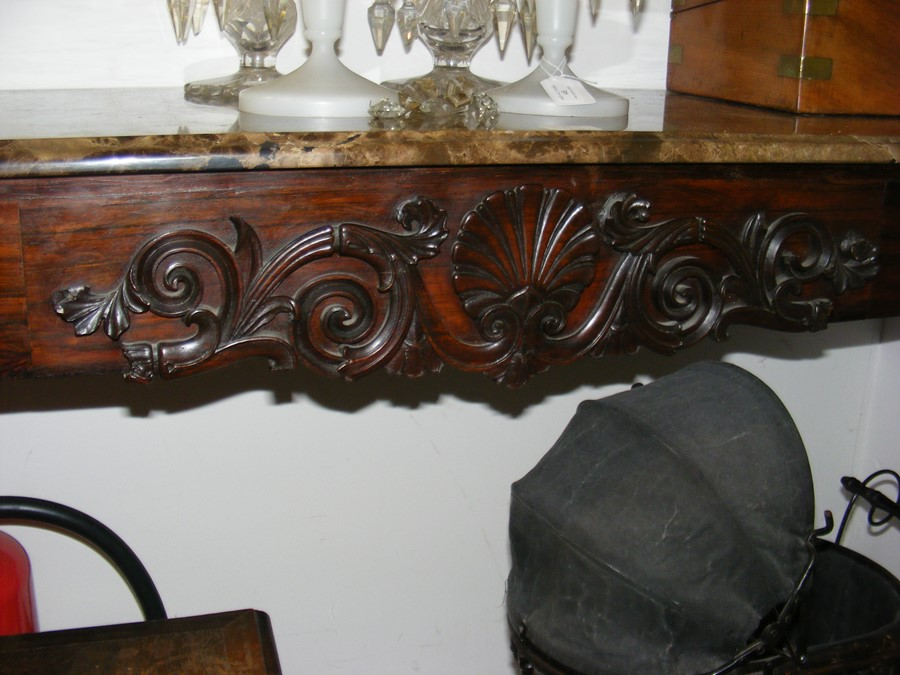 A decoratively carved console table with cabriole - Image 6 of 16