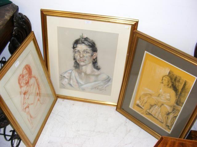 FRANCO MATANIA - a pastel drawing - portrait of la - Image 2 of 2