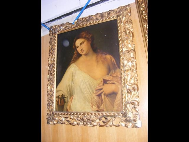 An antique oil on canvas entitled 'Flora' in decorativ - Image 10 of 12