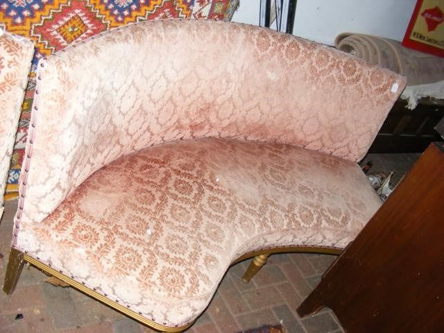 A French style curved back settee