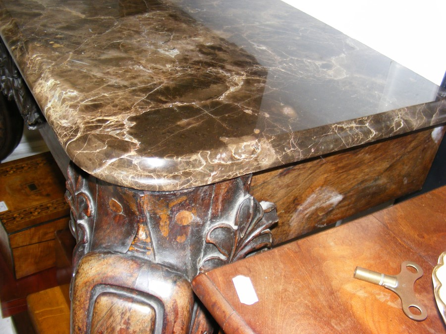 A decoratively carved console table with cabriole - Image 9 of 22