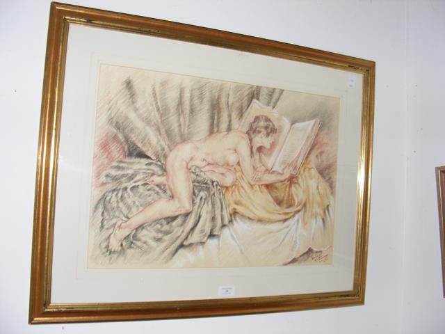 FRANCO MATANIA - an original picture of reclining - Image 2 of 2