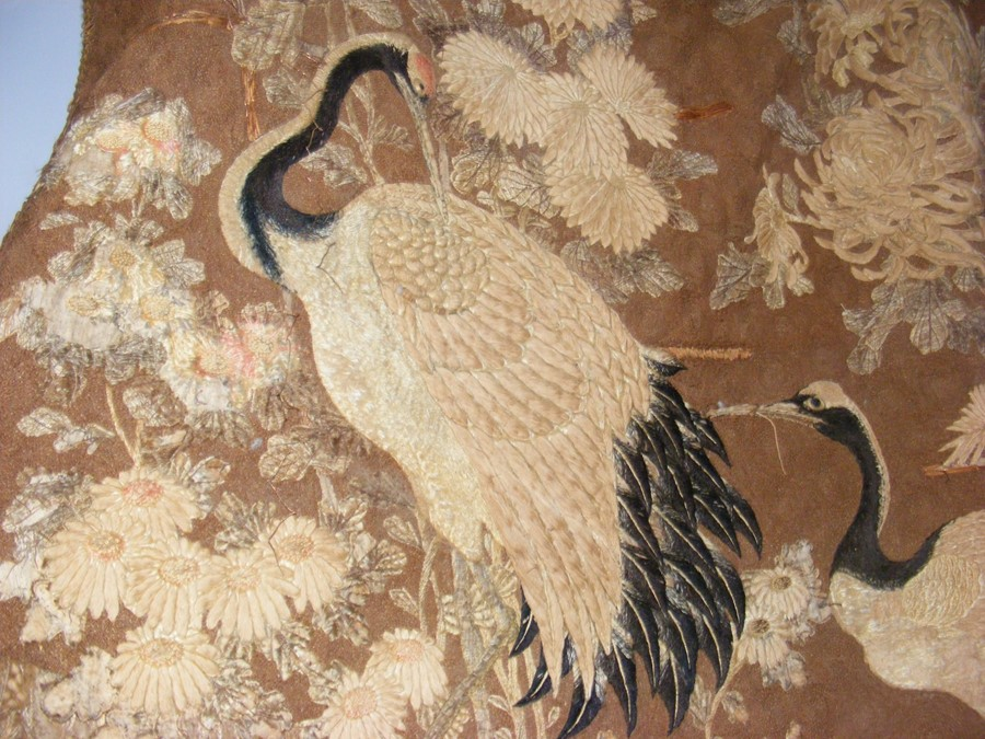 An old oriental tapestry with exotic birds and flo - Image 8 of 10
