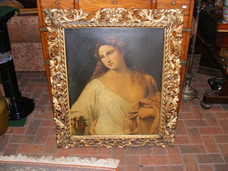 An antique oil on canvas entitled 'Flora' in decorativ - Image 2 of 12