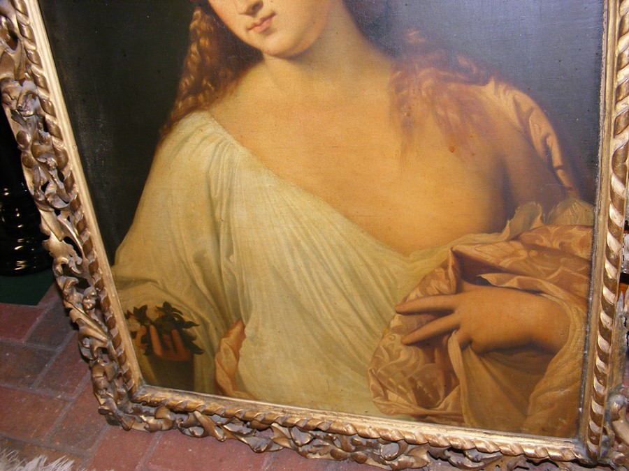 An antique oil on canvas entitled 'Flora' in decorativ - Image 4 of 12
