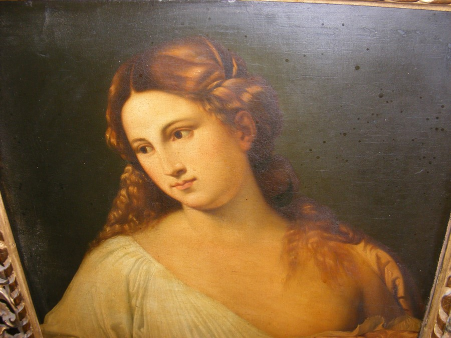 An antique oil on canvas entitled 'Flora' in decorativ - Image 3 of 12