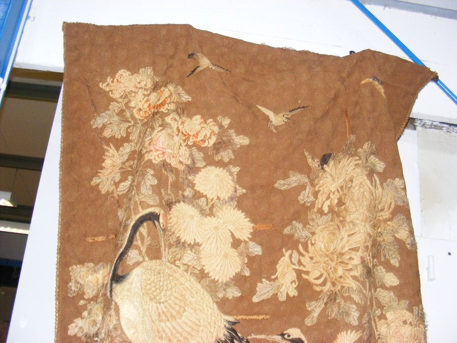 An old oriental tapestry with exotic birds and flo - Image 3 of 10