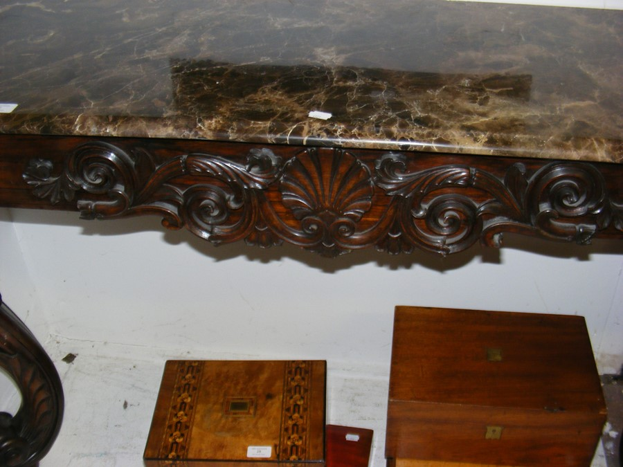 A decoratively carved console table with cabriole - Image 7 of 22