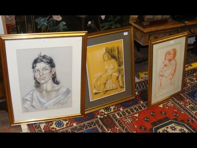 FRANCO MATANIA - a pastel drawing - portrait of la
