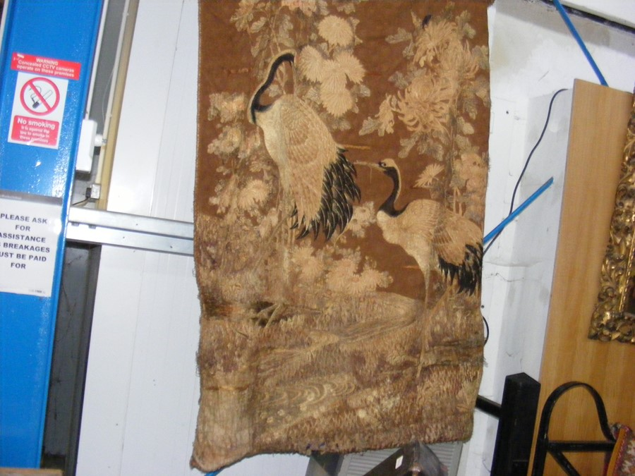 An old oriental tapestry with exotic birds and flo - Image 2 of 10