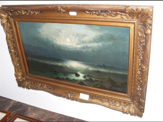 H HOWELL - oil on canvas - moonlit seashore - date