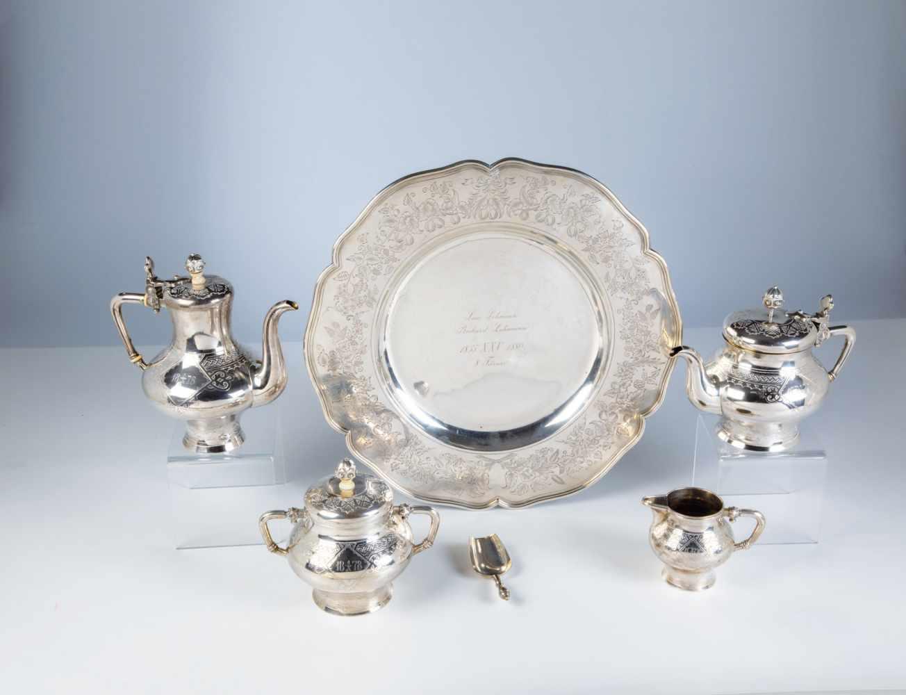 Los 50 - A six pieces silver coffee and tea set. 20th century. Including tea pot, coffee pot,sugar, bowl,
