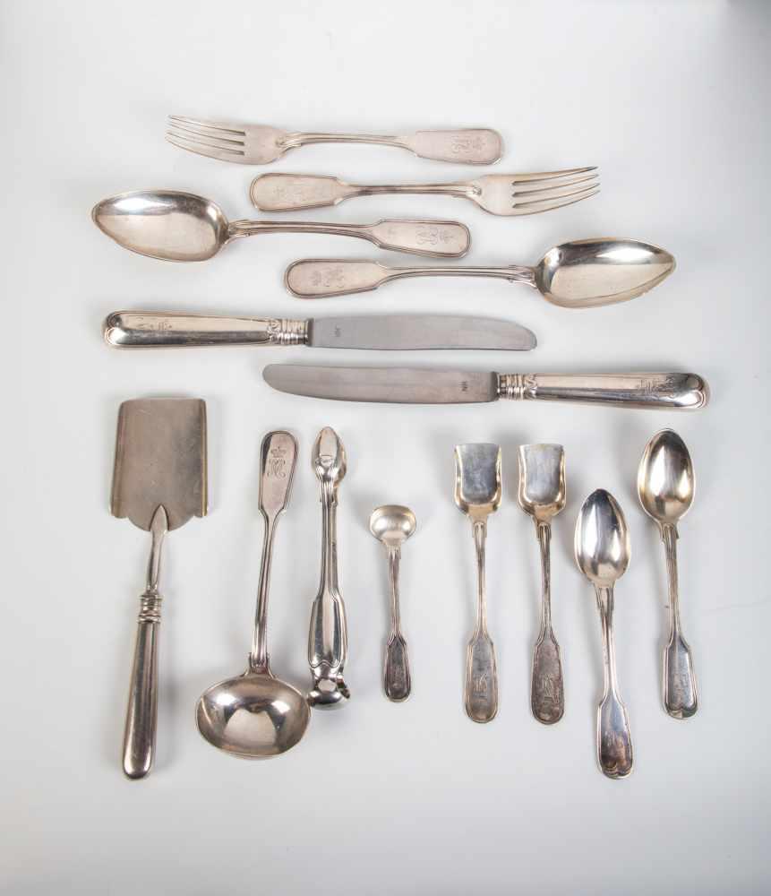 Los 21 - 30 pieces Nichols & Plinke silver flatware. Russia, St. Petersburg, Robert Kochun u.a.