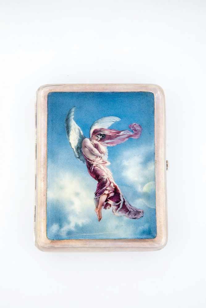 Los 22 - A silver cigarette case showing Lermontov's ''Demon''. Russia, Moscow, probably VladimirAkimov,