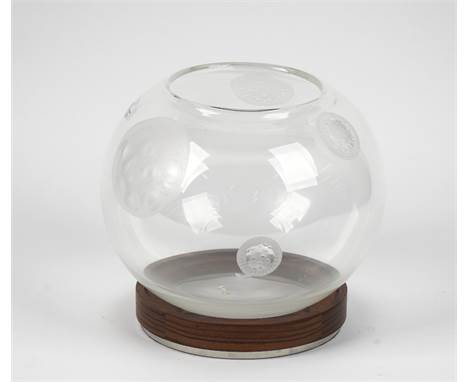 A Steuben glass bowl by Michelle Ola Doiur, Ltd Edition, the globular form engraved with spore type symbols, engraved to the