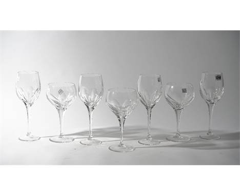 Fifteen Baccarat style crystal wine glasses, 26.5cm high, and three cocktail glasses, 22cm high, etched mark for 'Thomas Good