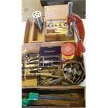 Assortment of Pocket Knives with CASE, Greenlee Hand Bender, Tachometer