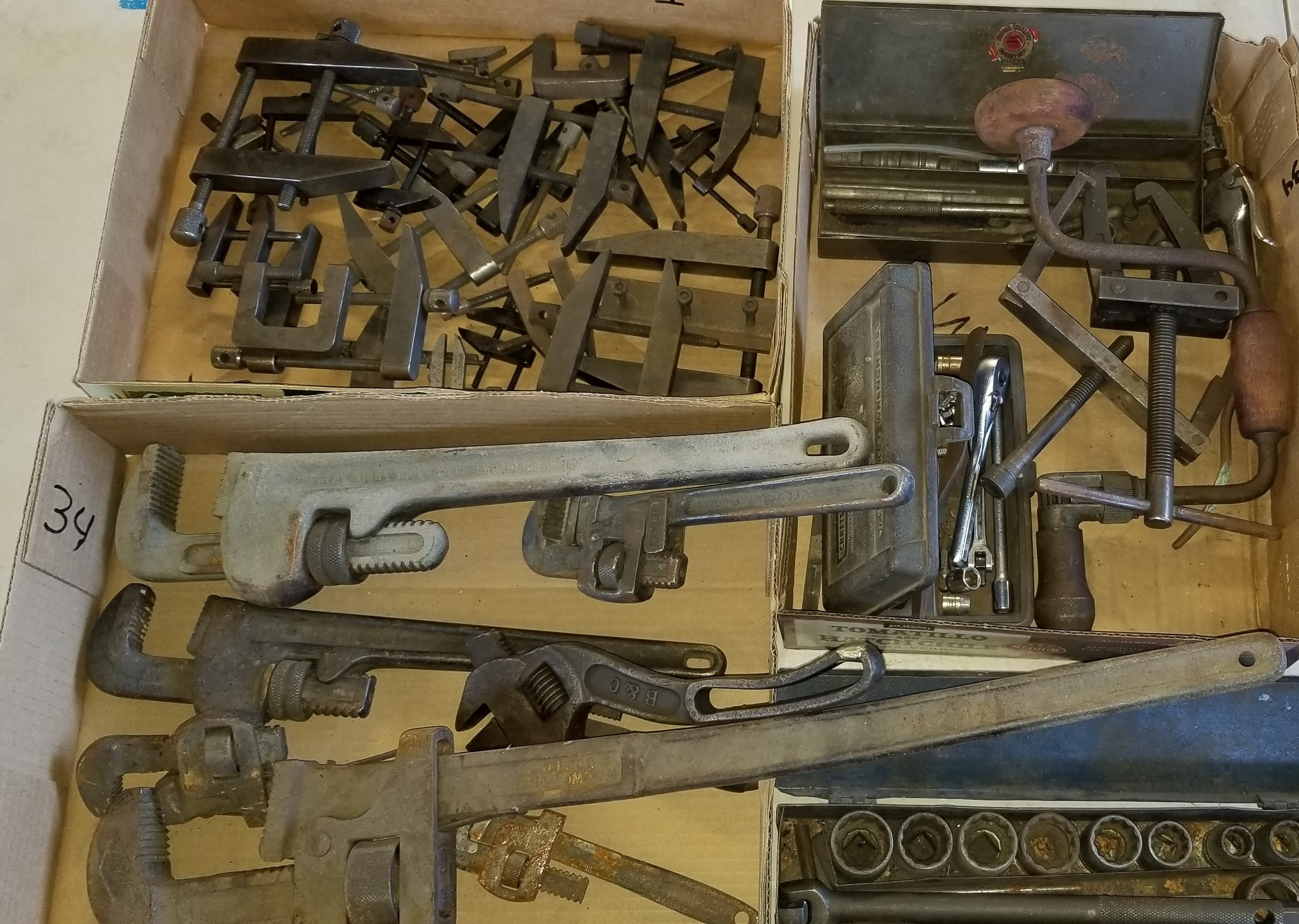 Lot 34 - Group Lot of Pipe Wrenches, Metal Clamps, Socket Wrenches and Assorted Tools