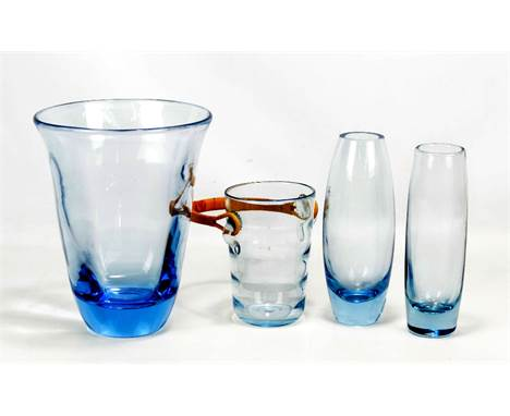PER LUTKEN FOR HOLMEGAARD; two ice blue glass vases, both with monogram to bases, height of slightly taller 12.8cm, a Holmega