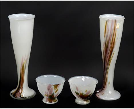 PER LUTKEN FOR HOLMEGAARD; a near pair of 'Najade' pattern tapered vases on spreading circular feet, height of slightly talle