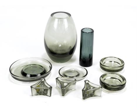 PER LUTKEN FOR HOLMEGAARD; seven pieces of grey smoked glass tableware comprising vase, height 16cm, three candle holders (bo