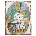 MARCEL JANCO (1895-1984) JEU DE DÉS, 1920 Peinture sur plâtre sur toile contrecollée sur panneau