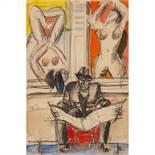 JEAN HÉLION (1904-1987) LE JOURNALIER AUX FEMMES NUES, 1948 Gouache, aquarelle et crayon sur