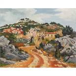 YVES BRAYER (1907-1990) CHEMIN DANS LES ROCHERS AU PRINTEMPS, 1974 Huile sur toile Signée en bas à