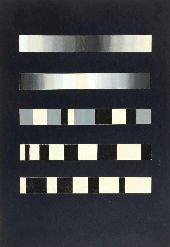 Bauhaus - Walter Köppe. Konstruktionen von Schwarz zu Weiß. Zwei bzw. fünf collagierte - Image 2 of 2