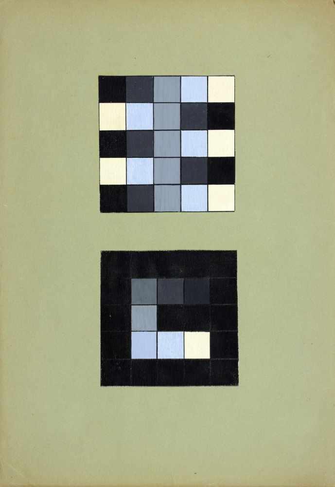 Bauhaus - Walter Köppe. Konstruktionen von Schwarz zu Weiß. Zwei bzw. fünf collagierte