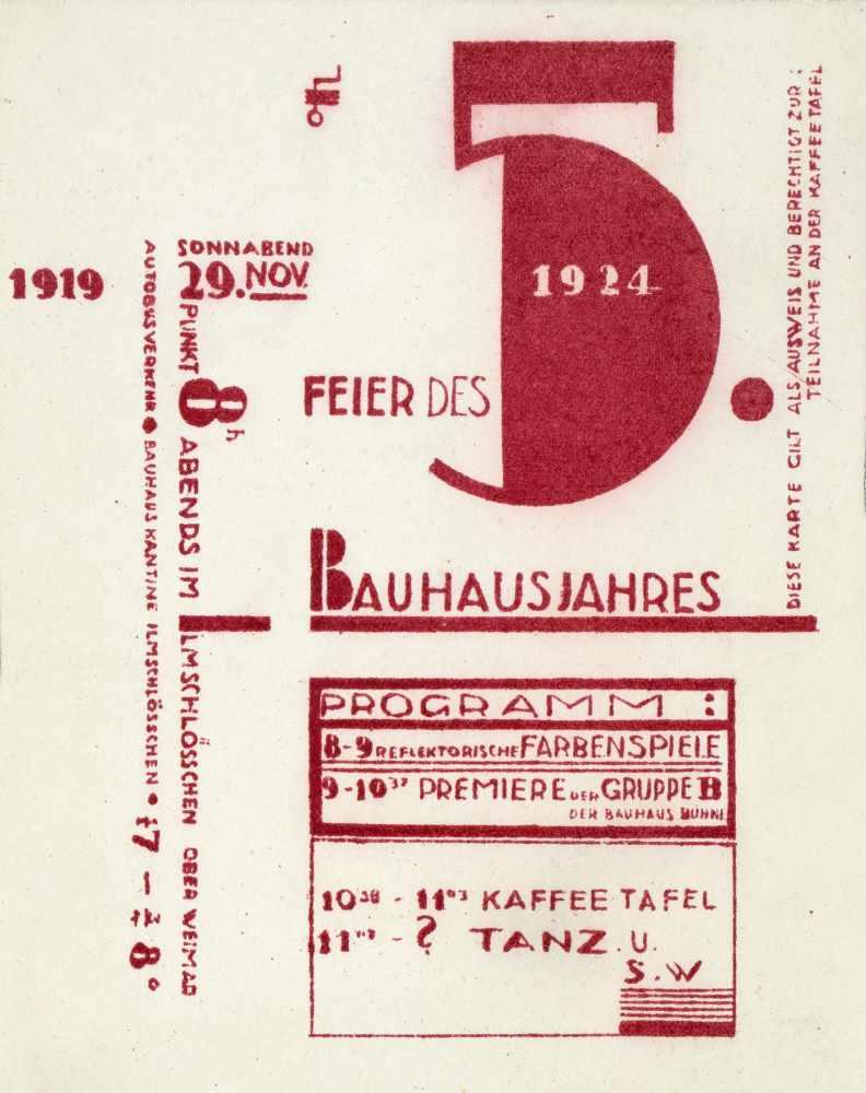 Bauhaus - Joost Schmidt. Wir feiern am 29. Nov. 1924 das 5jährige Bestehen des Bauhauses. - Image 3 of 3