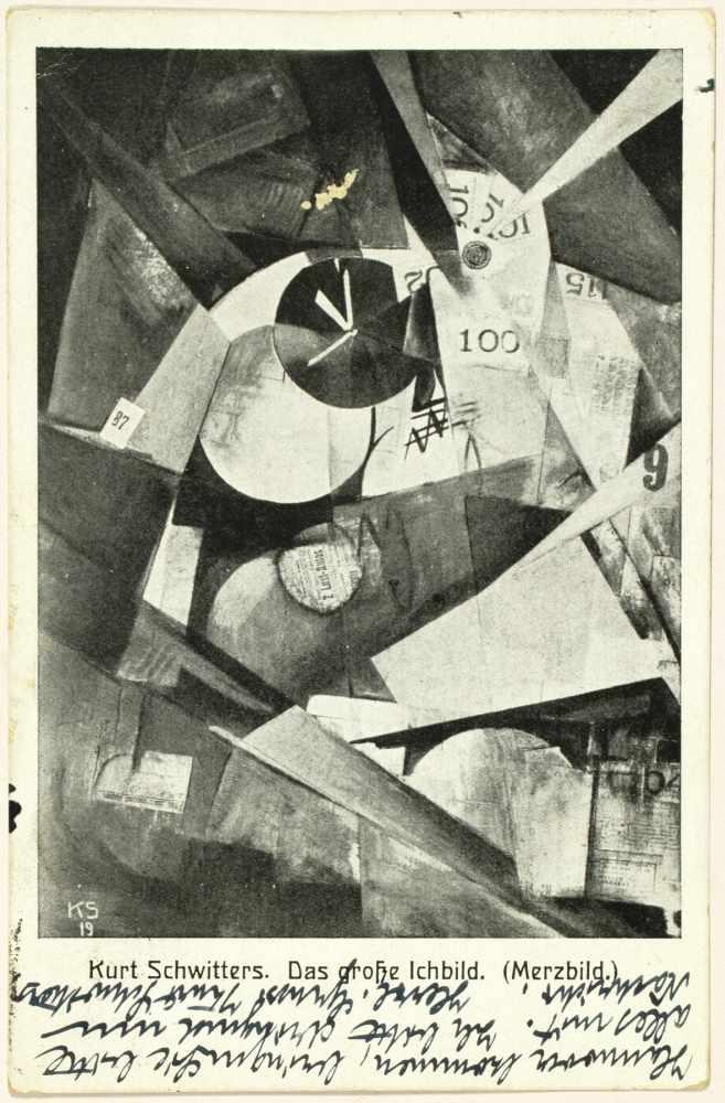 Kurt Schwitters. Eigenhändige Merzbild-Postkarte mit Unterschrift. Hannover, 25. 6. 1924. Beidseitig - Image 2 of 2